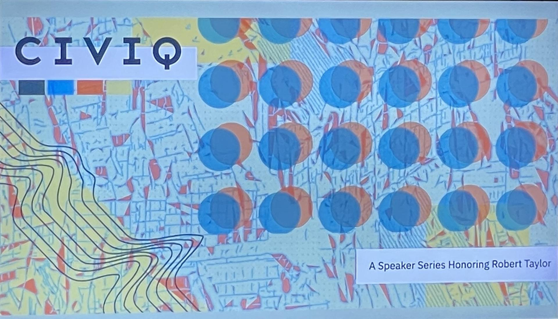 A graphic featuring a blue background with several orange dots with blue dots overlaying them, places on top of a map, and featuring the word ''CIVIQ.''