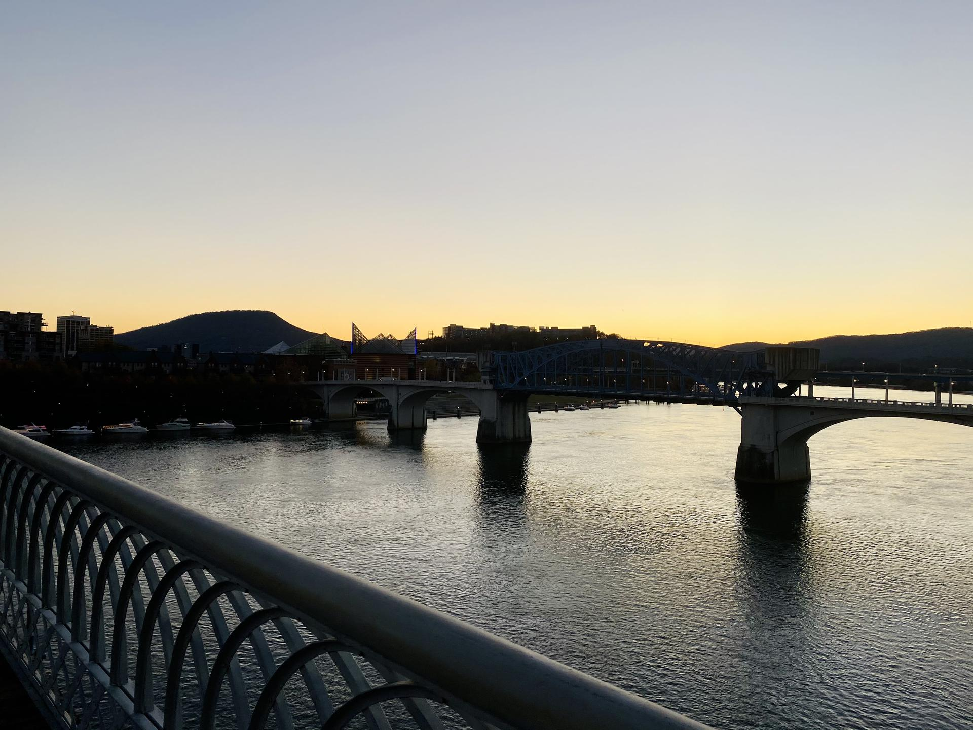Photo of the Walnut Street Bridge at sunset