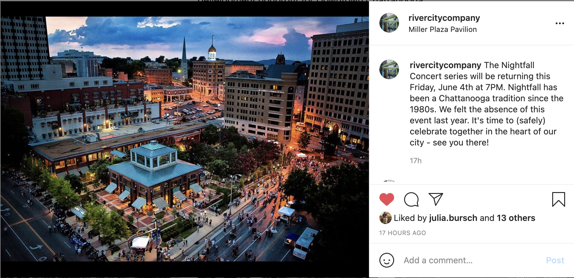 Screenshot of a photo of downtown Chattanooga at night