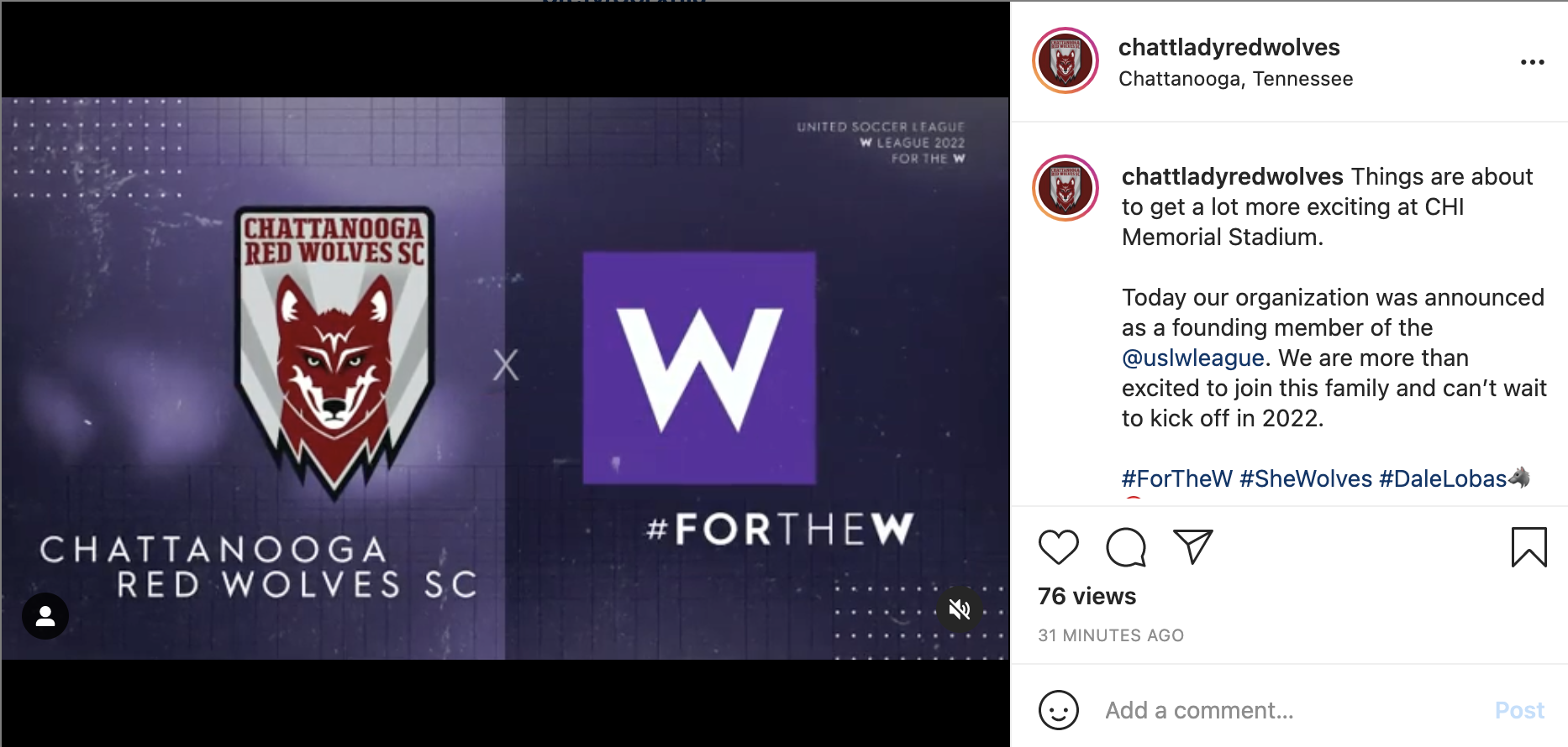 An Instagram screenshot of a graphic showcasing the Chattanooga Red Wolves logo and USLW league graphic