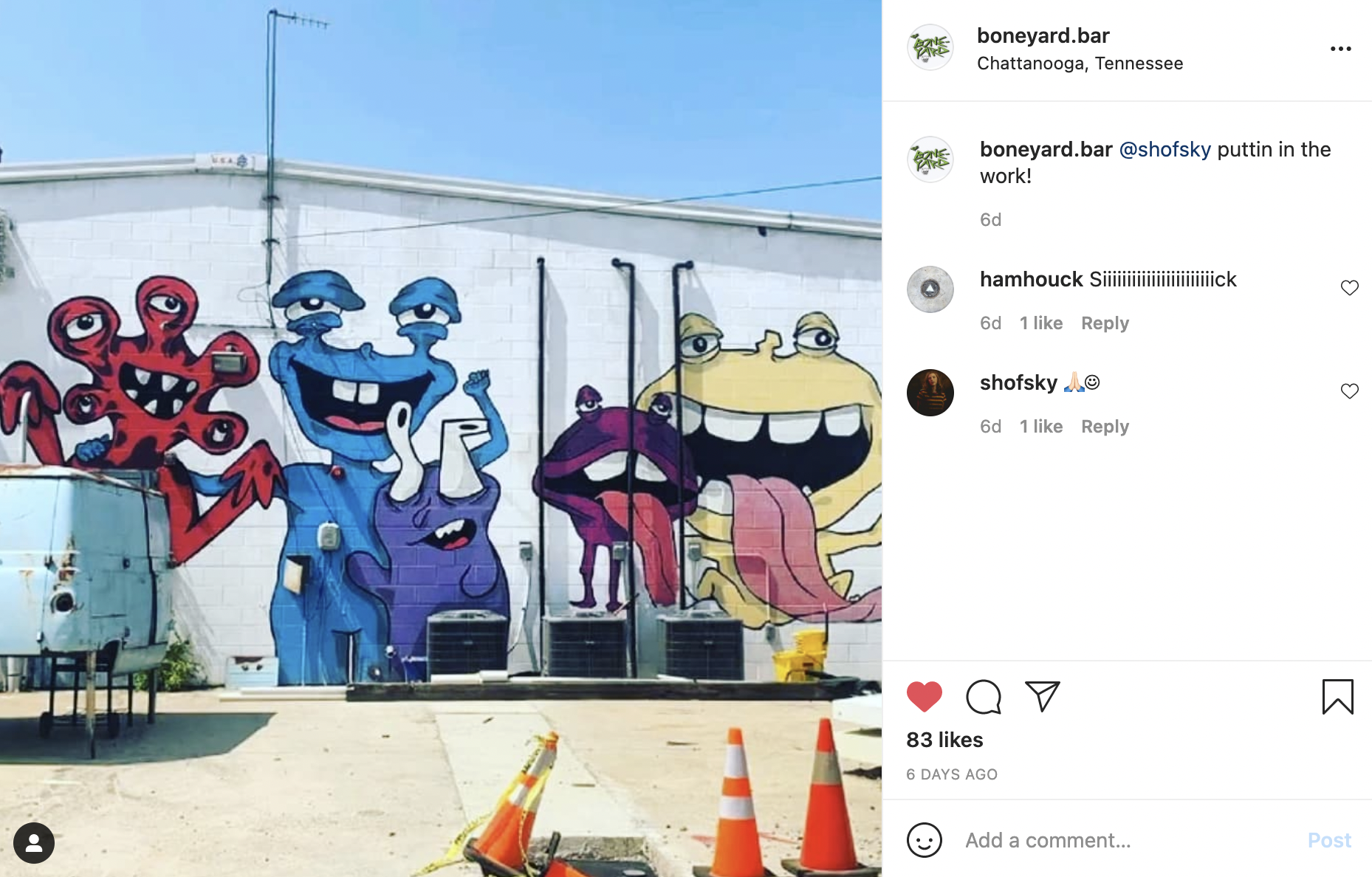 Instagram screenshot of a white wall featuring a mural of colorful, monster-like creatures