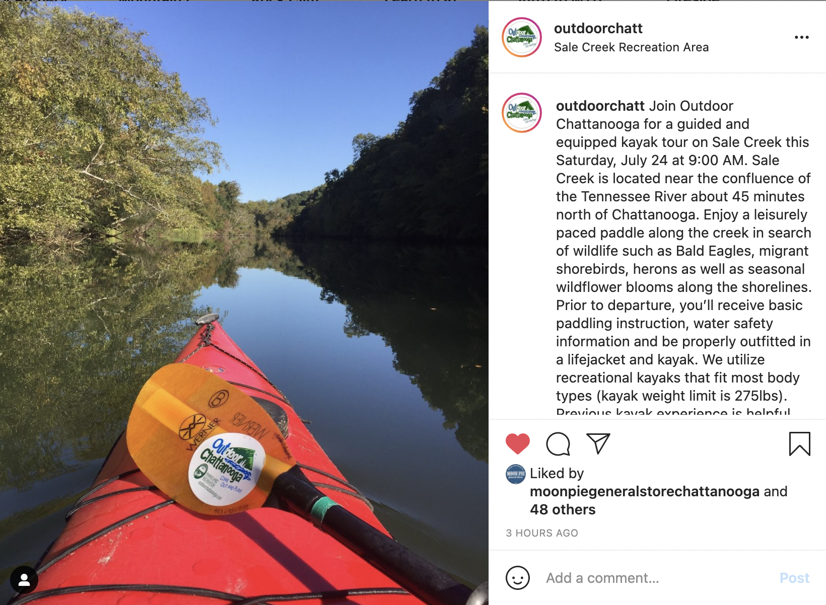 Instagram screenshot of a paddle lying on top of a kayak on top of a still creek.