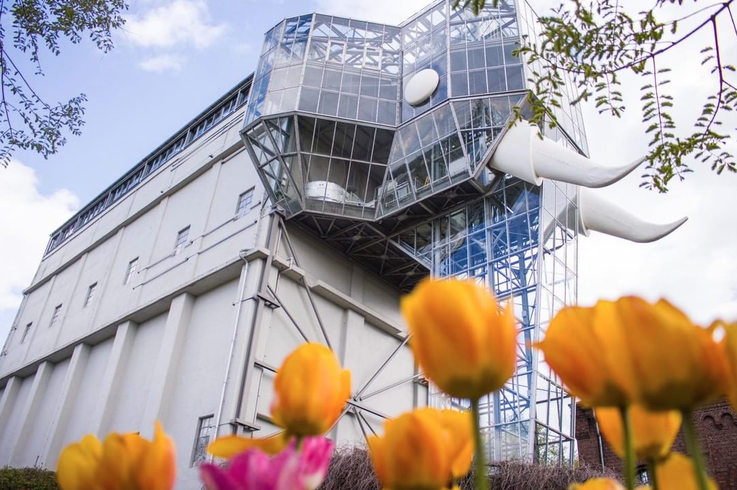 Photo of a large elephant whose body is made from shipping containers + head is all glass. The elephant is pictured behind several yellow tulips.