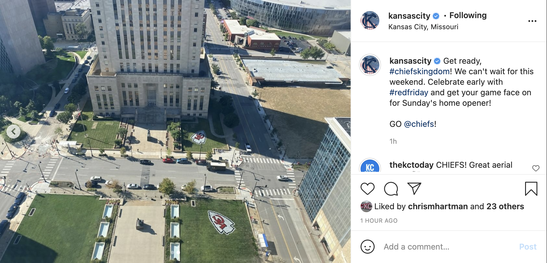 An aerial view of two Chiefs arrowheads painted on grassy areas in downtown Kansas City.