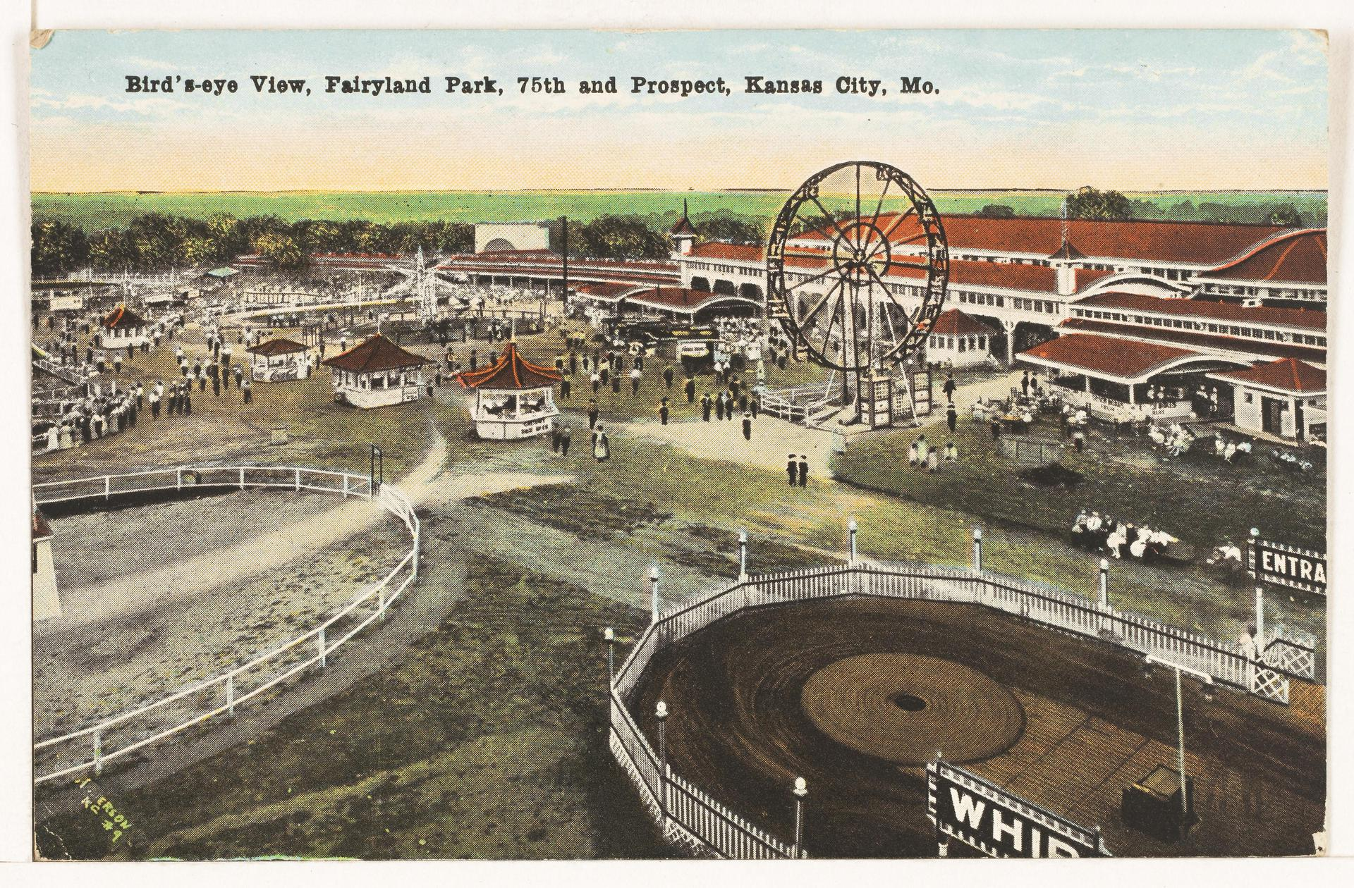 A postcard aerial view of rides and buildings located at Fairyland Park.