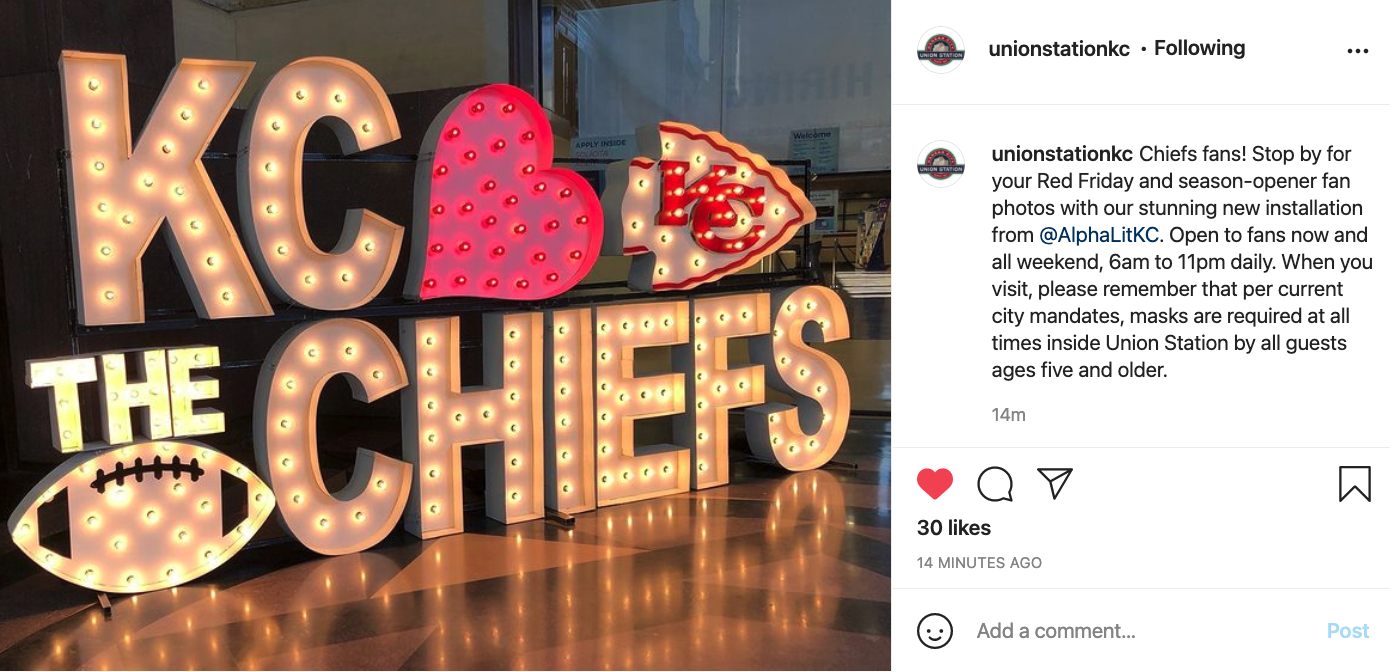 Picture of Chiefs sign at Union Station