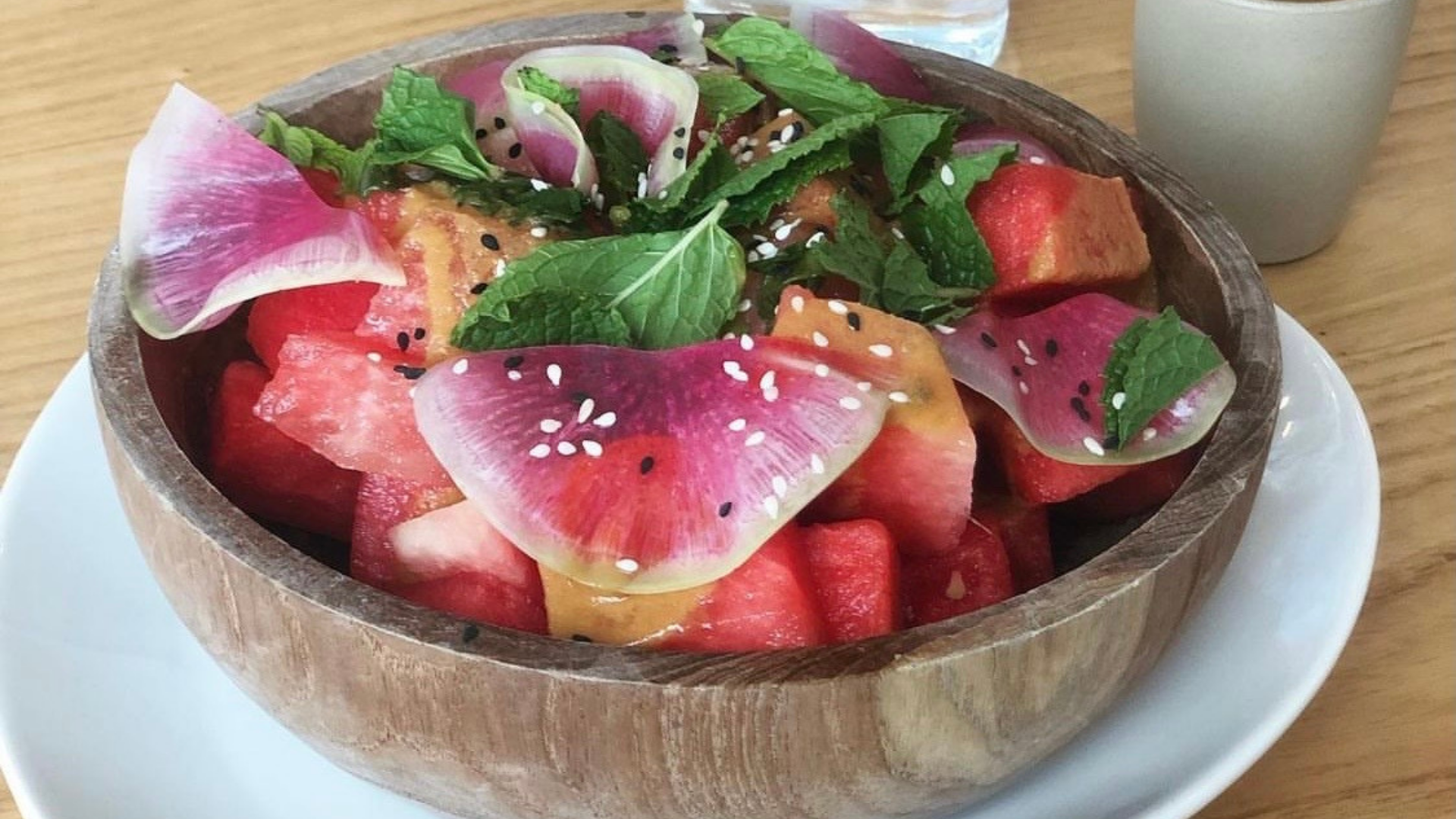 A photo of the sesame ginger watermelon & Thai bowl from Billie's Grocery.